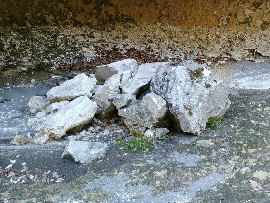 人面岩付近 豊後館跡からの落石?リアルドッスン石