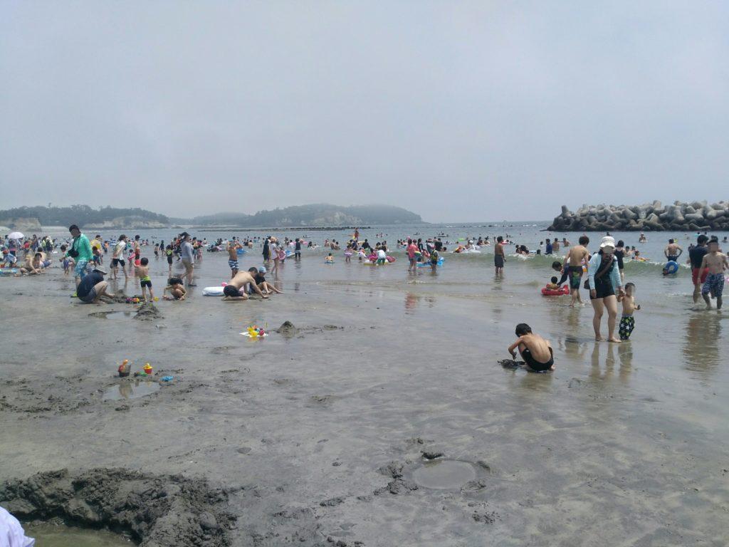 七ヶ浜町の菖蒲田海水浴場 2018年撮影