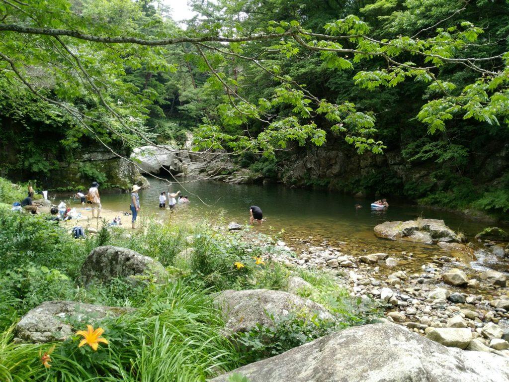 不動尊公園の内川で川遊び