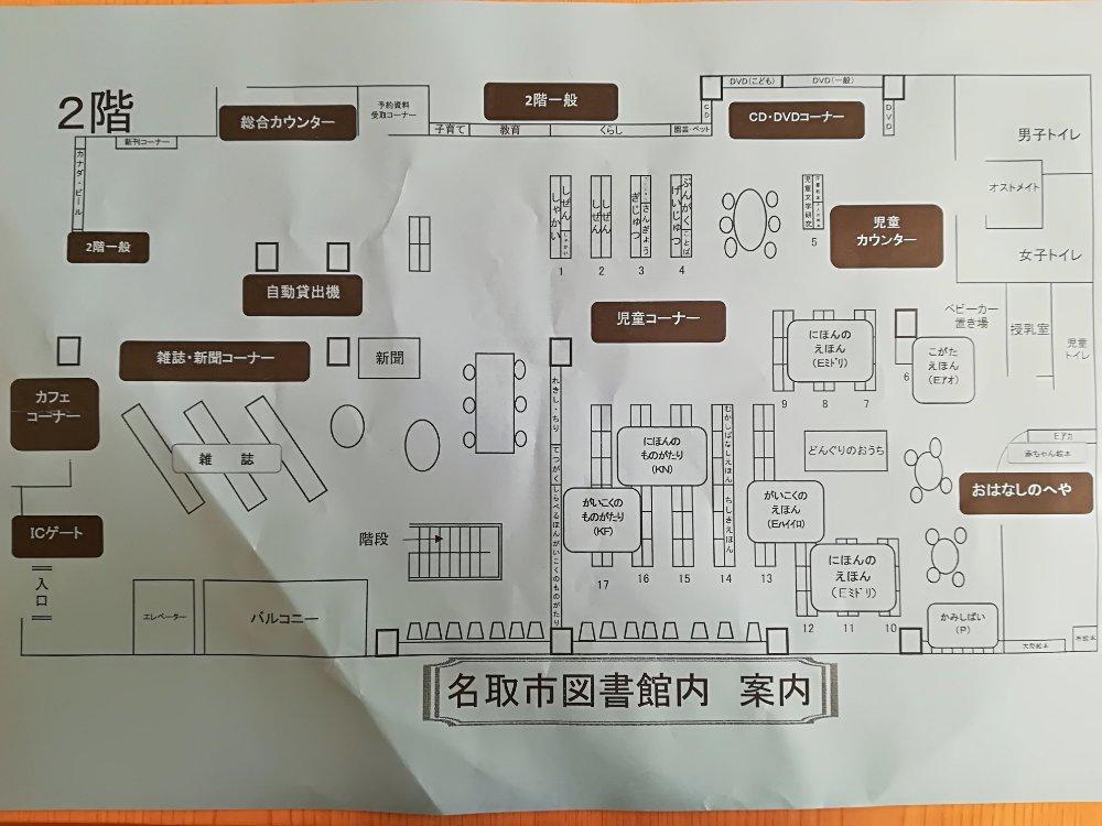 名取市図書館の2階マップ