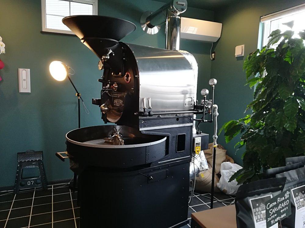 コーヒーハウスの焙煎機