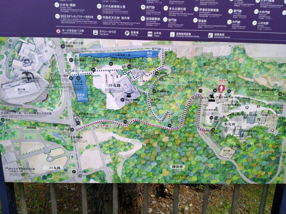 仙台城址のマップ