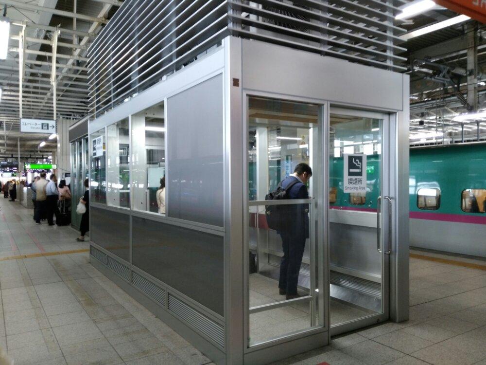 仙台駅内 新幹線ホームの喫煙所