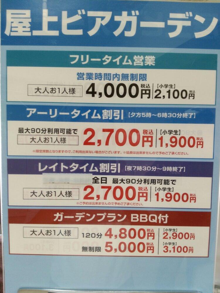 仙台三越ビアガーデンの料金表