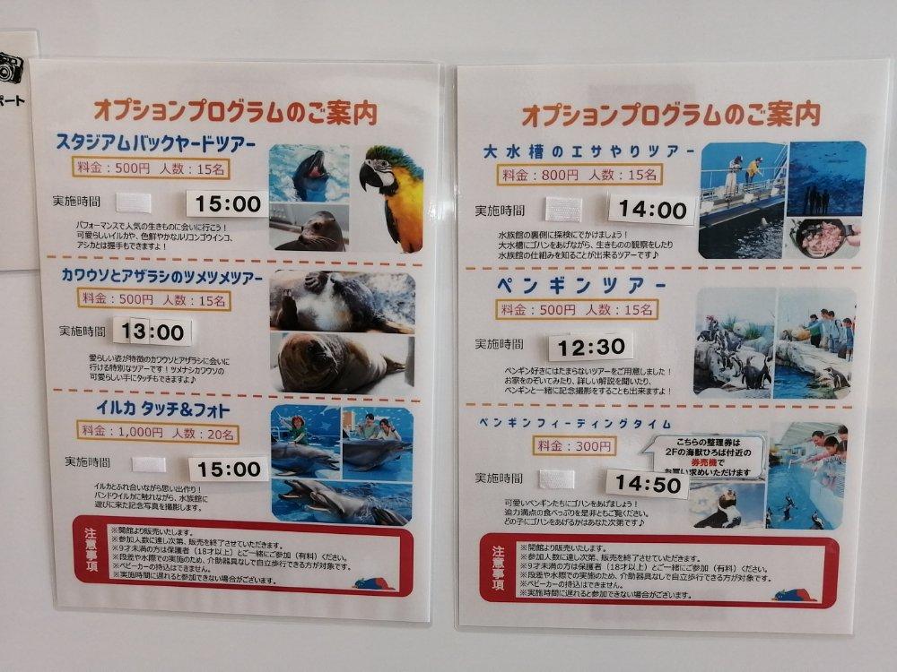仙台うみの杜水族館のオプションプログラム 料金と時間一覧