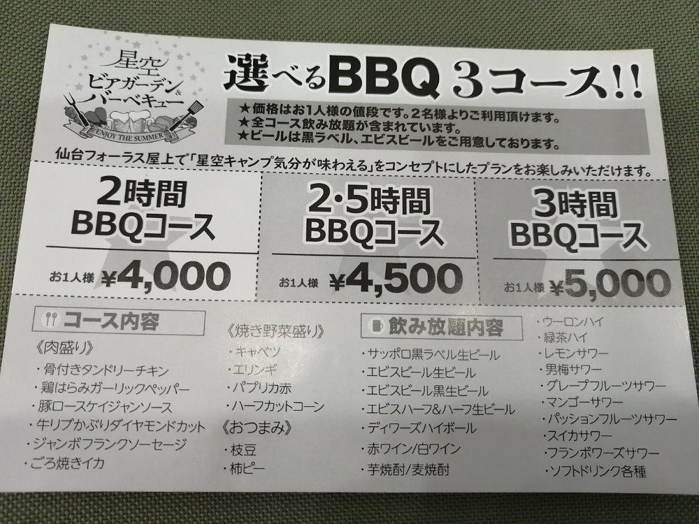 仙台フォーラスビアガーデンのメニュー・料金表