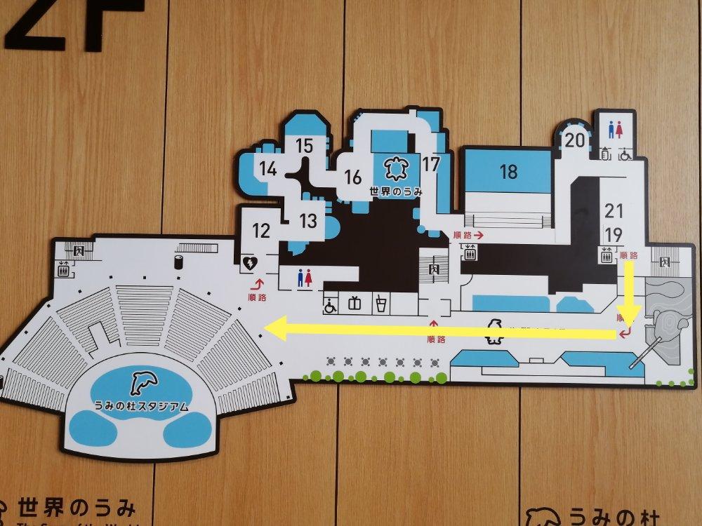 仙台うみの杜水族館の2階マップ