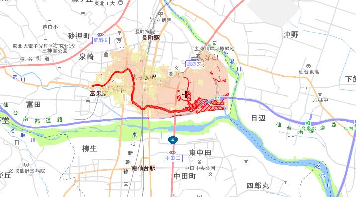 旧笊川の浸水想定区域