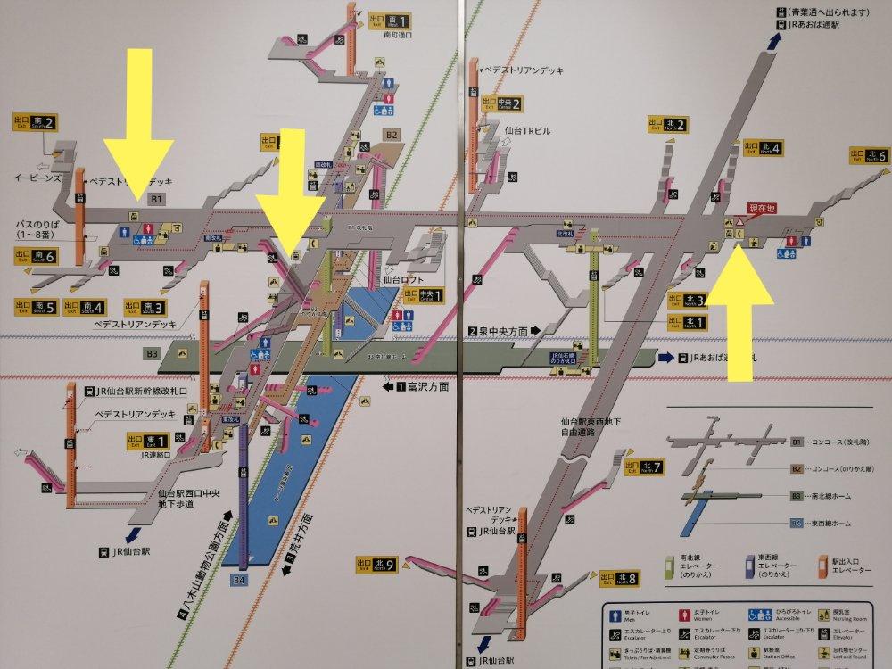 仙台駅地下自由通路 コインロッカーの場所