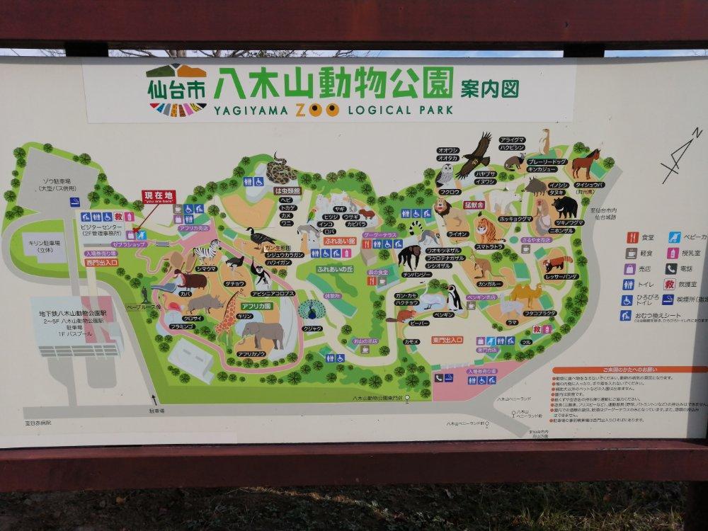 仙台市八木山動物公園のマップ