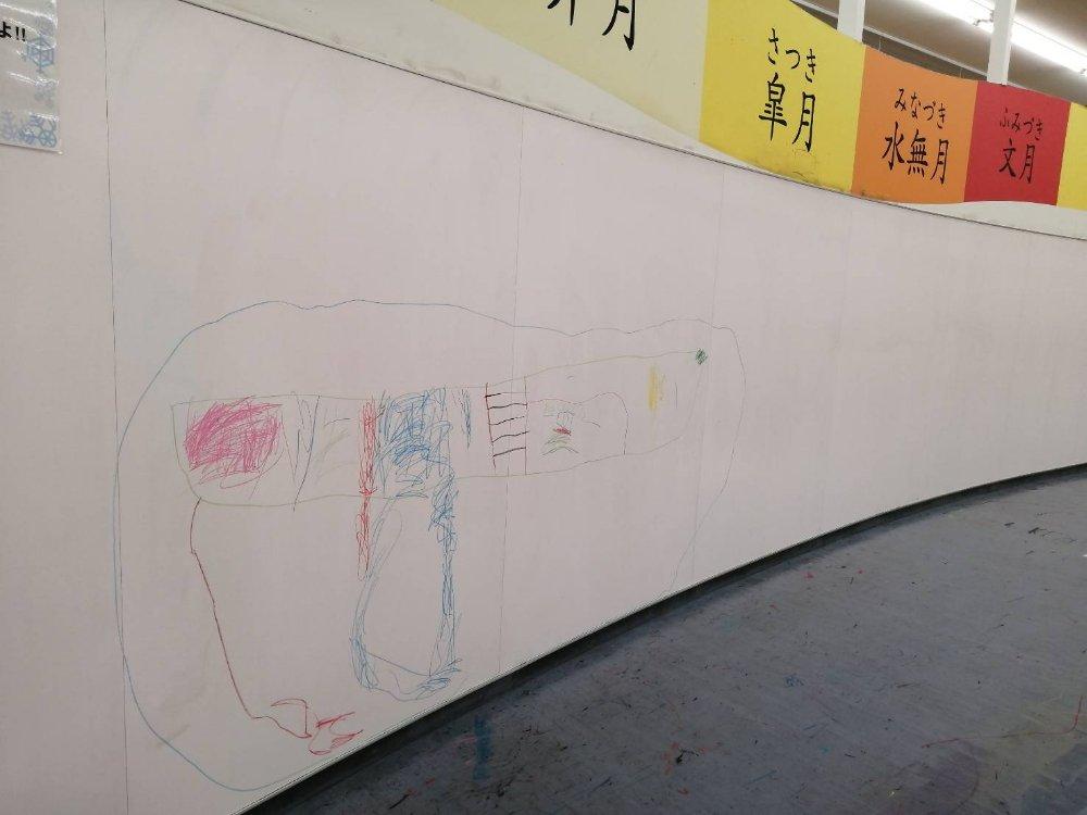 壁一面のお絵かきコーナー