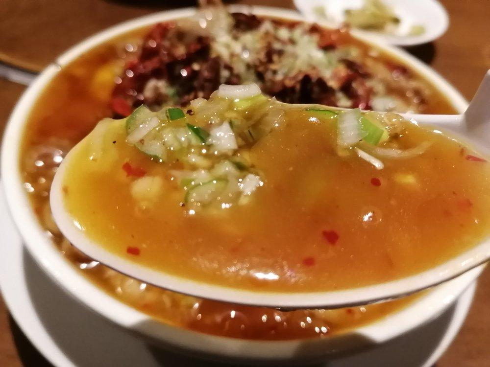 水煮肉片のスープ