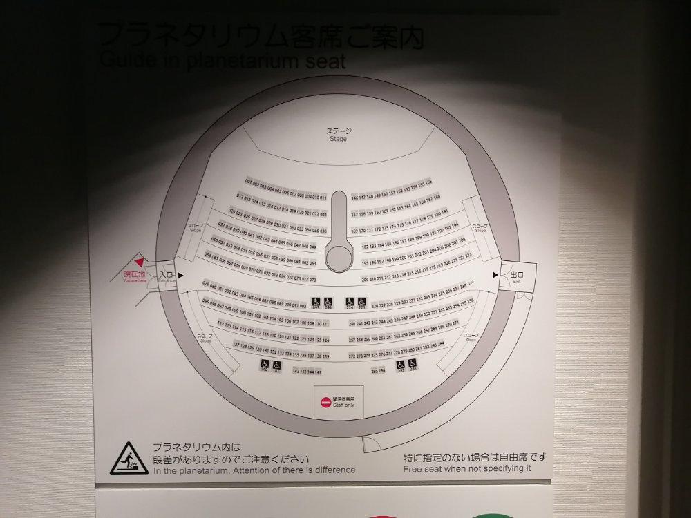 仙台市天文台のプラネタリウムマップ
