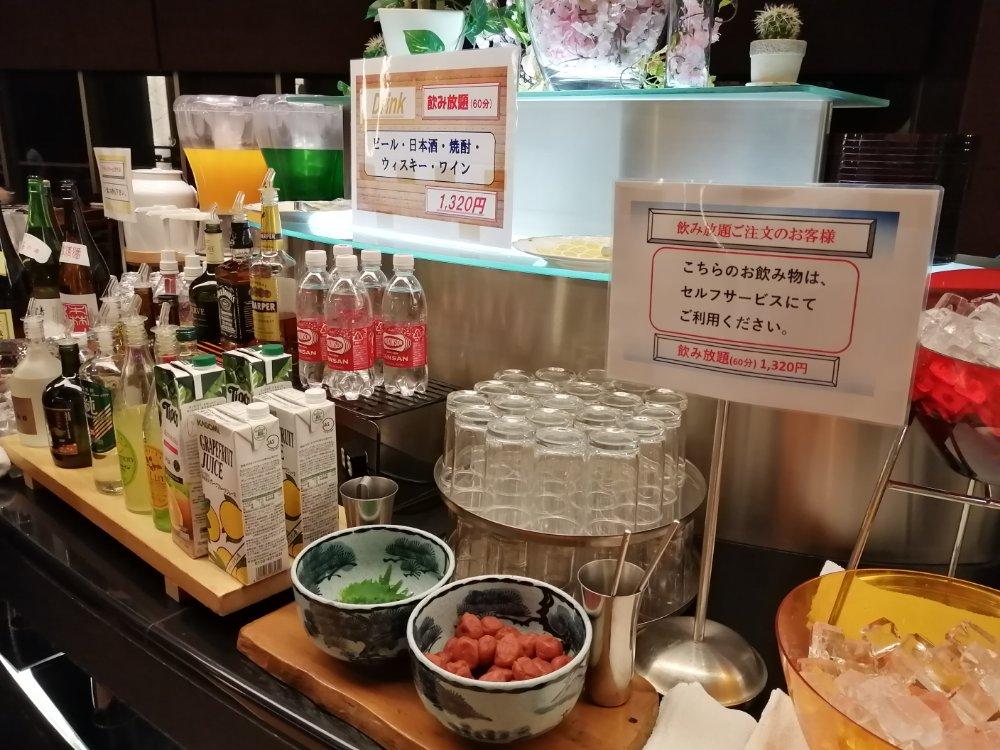 鳴子ホテルの飲み放題コーナー