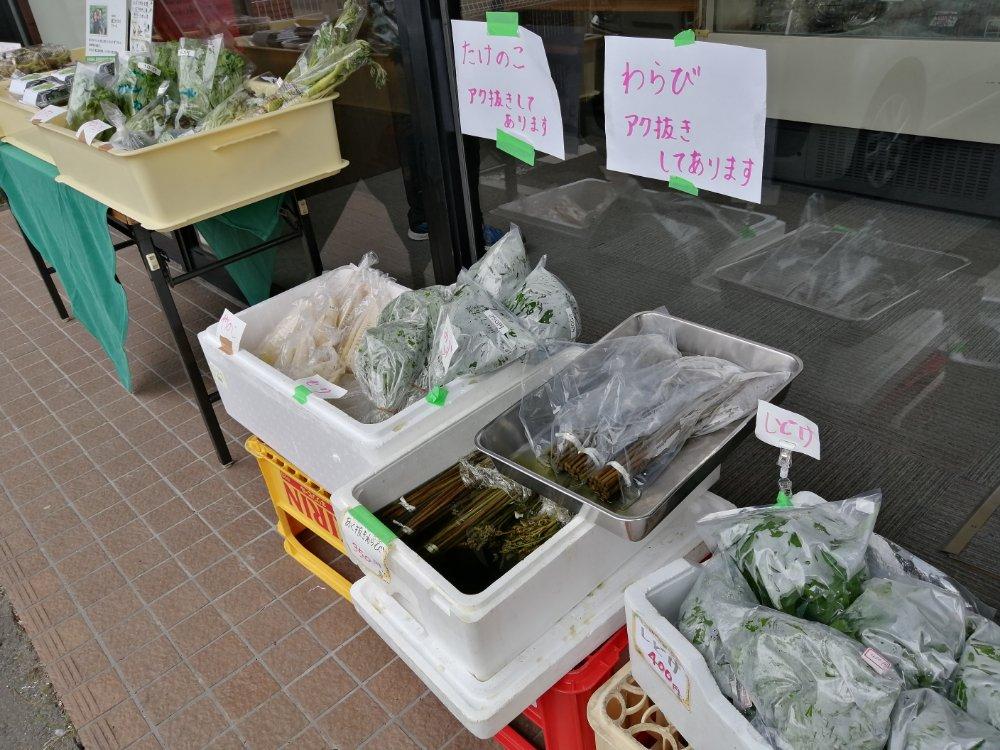 店頭で山菜を販売
