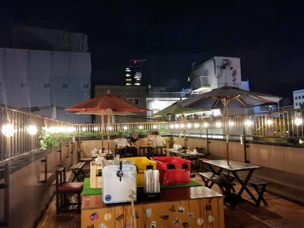 仙台朝市バル酒場マルシェマンの屋上テラス席