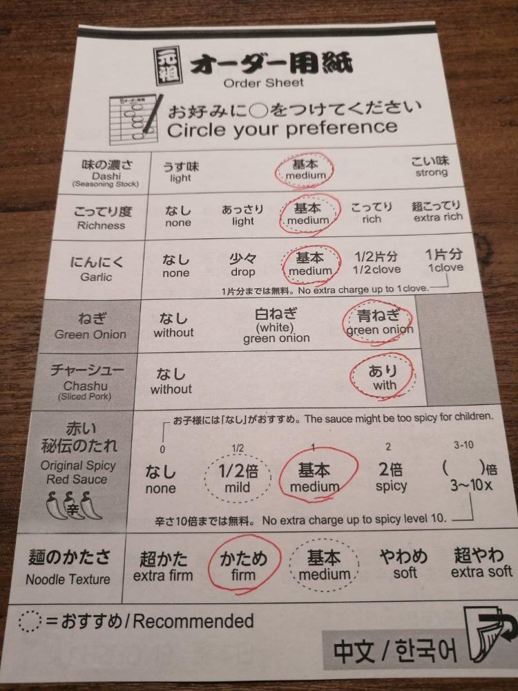 一蘭仙台駅前店 オーダー用紙