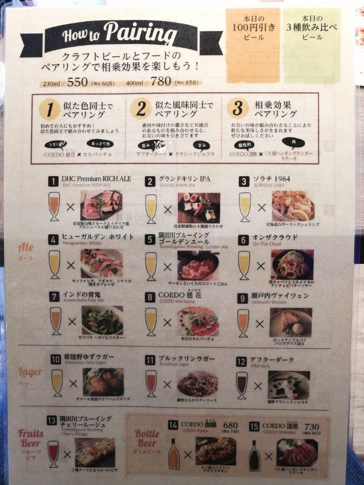 仙台キッチン クラフトビールメニュー